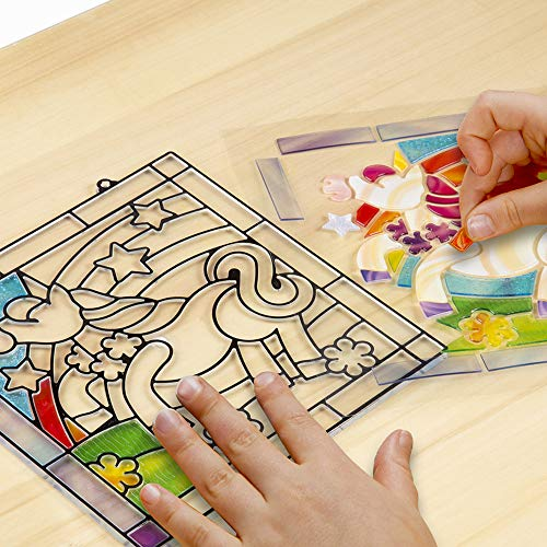 Melissa & Doug Stained Glass Made Easy Activity Kits Set: Owl and Unicorn – 180+ Stickers