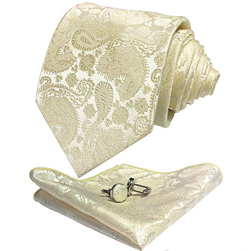 CANGRON Men Ivory White Paisley Tie Set Necktie with Pocket Square Cufflinks +Giftbox LSP8MB