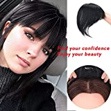 MOXINALAKO Human Hair Topper Clip in Crown Hairpieces Short Straight Wiglet For Women With Thinning Hair/Gray Hair Toupee Silk Base Natural Black