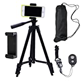 #8: DAISEN 42-inch aluminum mobile phone tripod for iphone universal smartphone cell phone camera tripod Arbitrary installed With remote control (Black)