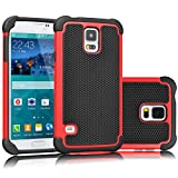 Galaxy S5 Case, Tekcoo(TM) [Tmajor Series] [Red/Black] Shock Absorbing Hybrid Rubber Plastic Impact Defender Rugged Slim Hard Case Cover Shell For Samsung Galaxy S5 S V I9600 GS5 All Carriers