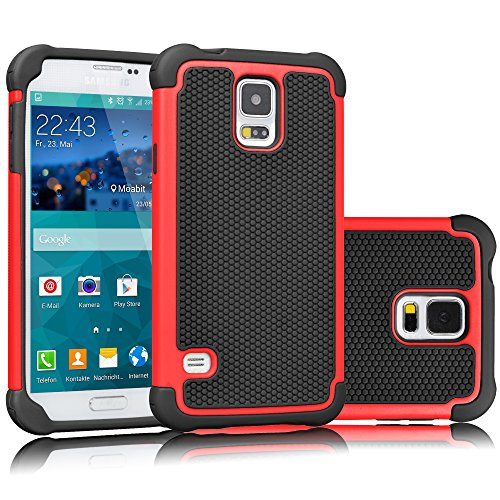 Tekcoo Galaxy S5 Case, [Tmajor] Sturdy [Red/Black] Shock Absorbing Hybrid Rubber Plastic Impact Defender Rugged Slim Hard Case Cover Bumper for Samsung Galaxy S5 S V I9600 GS5 All Carriers