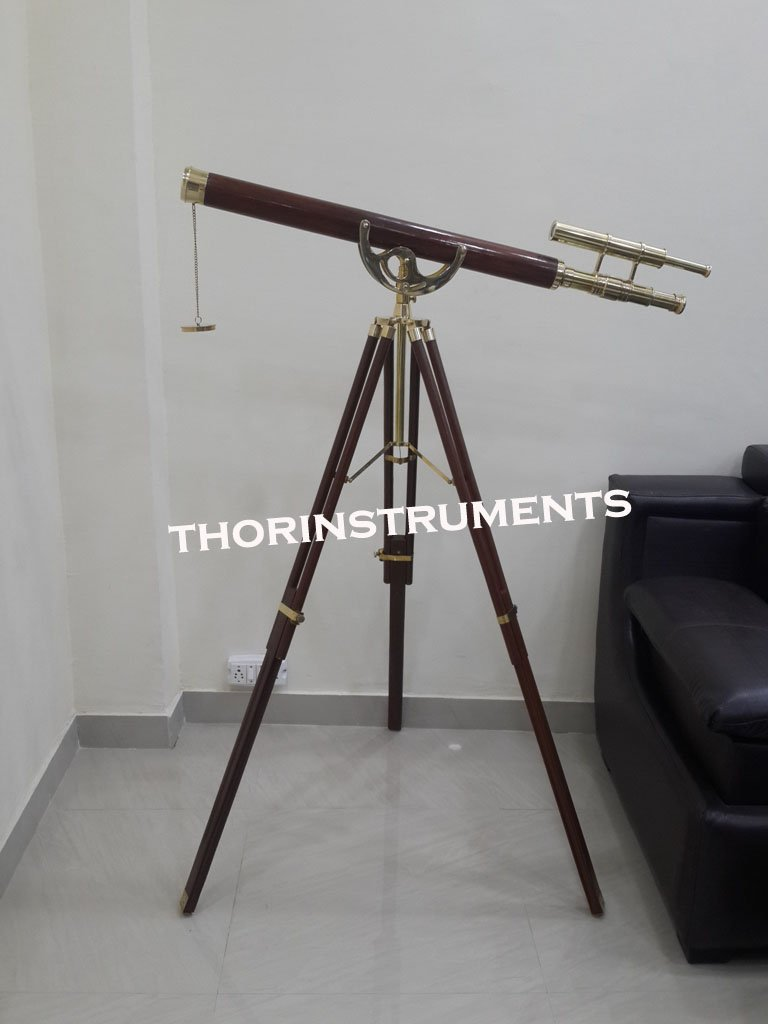 Nautical Shiny Brass Navy Wood Brown Telescope With Wooden Floor Tripod Stand