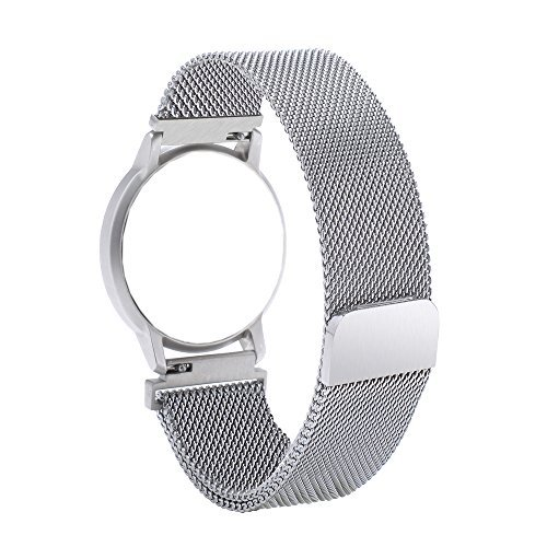 Blesihu Watch Band Replacement for Withings Activite/Steel/Pop,18mm Milanese Loop Watchband Stainless Steel Magnetic Closure Strap for Huawei Watch Silver