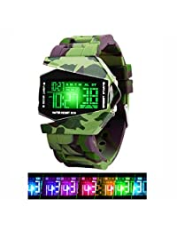 Boys Kids Digital Sport Watch Warcraft Fighter Multi Function for Kids Age Above 12 LED 50M Outdoor Waterproof Electronic Analog Quartz Silicone Wrist Watches for Kids Children Boys (Camouflage green)