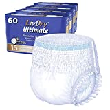 LivDry Adult Incontinence Underwear, Ultimate Comfort Absorbency, Leak Protection, Large, 60-Pack