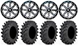 Bundle - 9 Items: MSA Lok 14'' UTV Wheels 30'' Outback Max Tires [4x137 Bolt Pattern 12mmx1.25 Lug Kit]