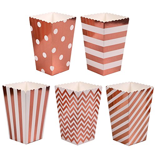 ONINIT 30pcs/Lot Party Favor Gifts Rose Gold Popcorn Boxes Bakery Box Birthday Party Bridal Shower Baby Shower Decorative boxes (each 6 pcs)