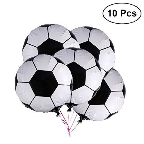 "NUOLUX 10 Pcs 18"" Soccer Balloons Aluminum Foil Membrane Airballoon Birthday Party Decoration"