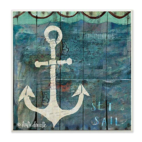 Beach Decor Sign 12' Blue (12' x 12' Blue Grey Anchor Pattern Wall Art Rectangle, Teal Green Beach Theme Wood Plaque Boating Sailor Boat Themed Hanging Picture Arts Coastal Nautical Tropical Sailing Ocean Sea Boats, Metal Wood)