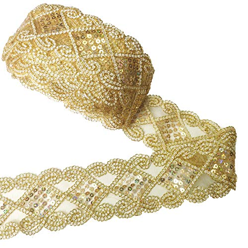 levylisa 10 Yards Beaded Lace Trim Sequins Lace Mesh Trim Lace Ribbon Applique Sewing Craft Supplies (Gold)