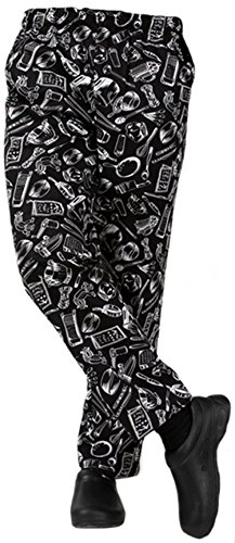 (Pepper Chef Uniforms Kitchen Work Chef Pants XXS-5XL Size ((US) Small, Knife Forks))