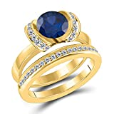 Jewelryhub Created 1.50 Ct Round Cut Blue Sapphire & White CZ Diamond Engagement Ring Bridal Set Genuine .925 Sterling Silver in 14k Yellow Gold Plated