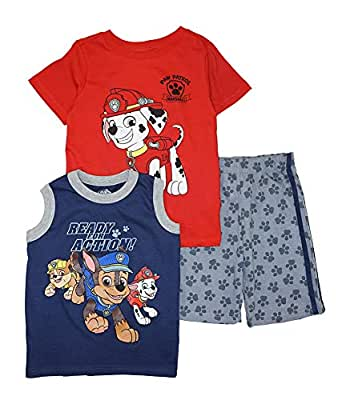 Nickelodeon Paw Patrol Little Boys Three-Piece Short Set - Red - 2T