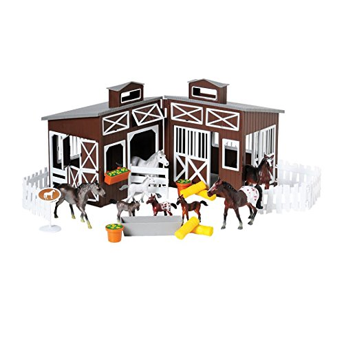 CP Toys 23 Pc. Deluxe Horse Stable Play Set with 4 Horses, 4 Ponies and Accessories