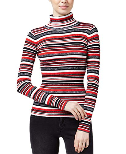 Planet Gold Juniors' Striped Fine Gauge Turtleneck Sweater (Jalapeno Red/Black, X-Small)