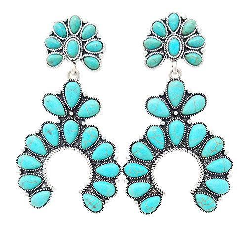 Western Squash Blossom Turquoise Post Earring (Turquoise) ()