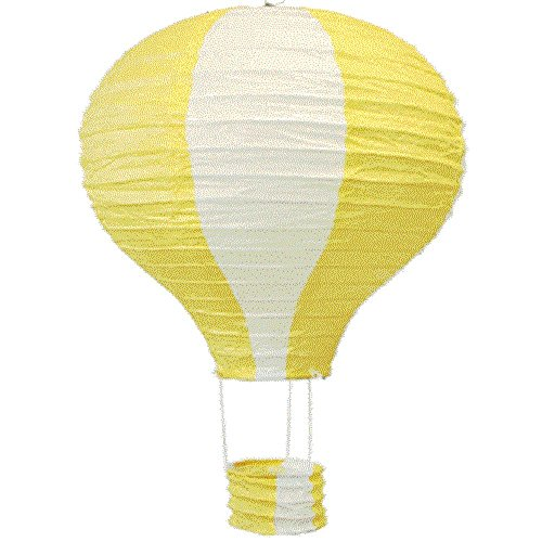 Yellow Hot Air Balloon - Pack of 3 Stripy Hot Air Balloon Paper Lantern Wedding Party Decoration Craft Lamp Shade (Yellow, 8