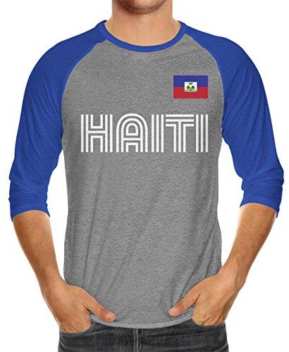 fan products of SpiritForged Apparel Haiti Soccer Jersey Unisex 3/4 Raglan Shirt, Royal/Heather Medium