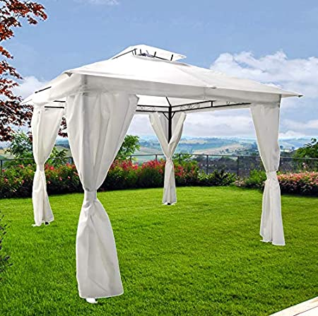 FP-TECH Cenador de jardín de 3 x 3 o 3 x 4 cm, Color Blanco, de ...