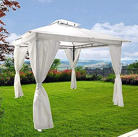 Cenador de jardín de 3 x 3 o 3 x 4 cm, color blanco, de hierro, lona impermeable y cortavientos, de metal: Amazon.es: Jardín