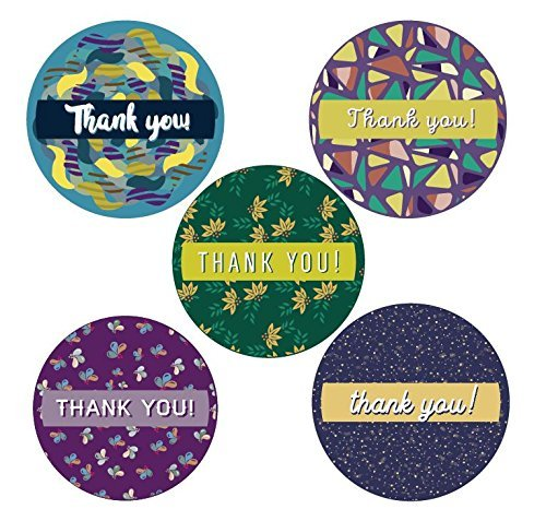 Christmas Roll Stickers - Colorful Modern Thank You Stickers Roll Set 1.5 inch | 500 Adhesive Round Circle Labels per Roll | 5 Unique Designs | Modern Happy Warm Geometric Designs | Baby shower, Wedding, Graduation, Birthdays