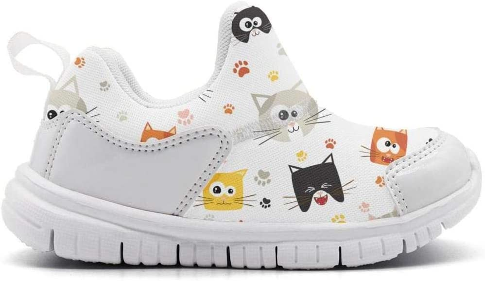 ONEYUAN Children Cute Cartoon Cat Faces and Footprint Kid Casual Lightweight Sport Shoes Sneakers Walking Athletic Shoes
