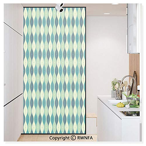 - Decorative Window Film,Oval Curved Vertical Lines with Classic Effects Dots Retro Graphic Static Cling Glass Film,No Glue/Anti UV Window Paper for Bathroom,Office,Meeting Room,Bedroom,Sea Green Petro