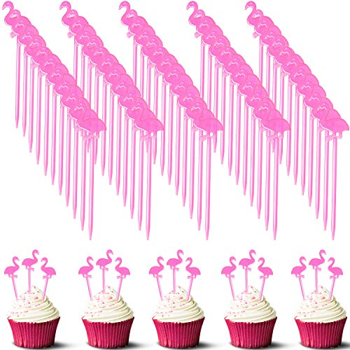300 Pieces Plastic Flamingo Picks Tropical Cupcake Pick Hawaiian Cocktail Toothpicks Fruit Picks Flamingo Cake Topper for Hawaiian Party Decoration Supplies (Pink)
