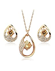 Acefeel Wedding Jewelry Set Teardrop Shaped Pendant with Shining Cubic Zirconia Necklace Earring S068