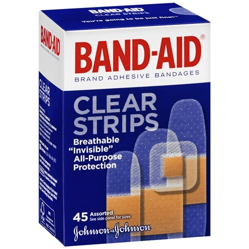 Band-Aid Brand Adhesive Bandages Clear Strips, Assorted Sizes 45 ea(pack of 2)