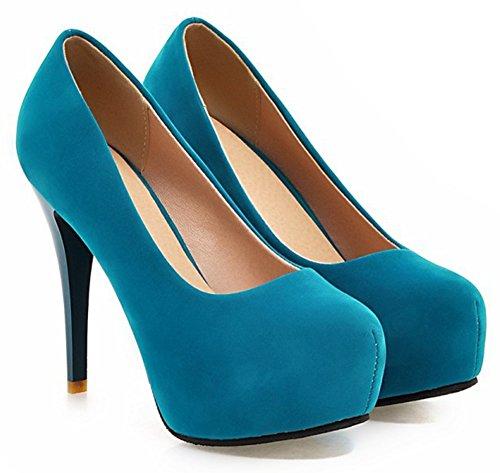 Tacones De Estilete De Las Mujeres De Aisun De Los Altos Talones Elegantes Del Resbalón En El Partido Del Dedo Del Pie Redondo Plataforma Nupcial Ocultada Bombas Zapatos Azules