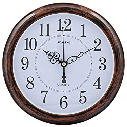 Adalene 13-Inch Wall Clock Large Decorative Living Room Clock - Kitchen Clock Battery Operated Quartz Analog Movement, Round, White Dial, Arabic Numerals