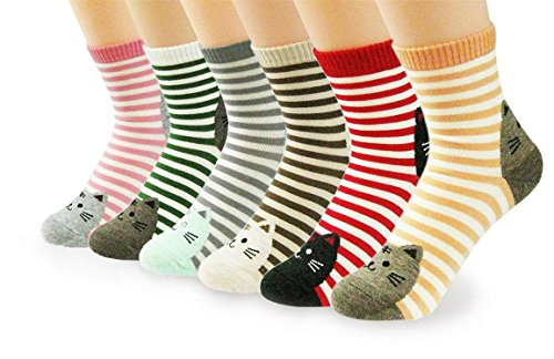 V28 Girl's Cute Owl Various Pattern Mixed Color Soft Socks (One Size, 6 Mixed Kittens)