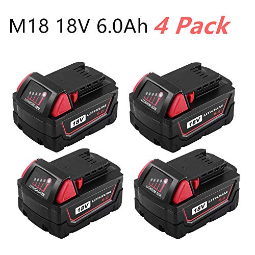 Masione 4 Pack 18v 6.0ah Li-Ion Battery, Replacement for Milwaukee 48-11-1890 48-11-1860 48-11-1850 48-11-1840 48-11-1820 48-11-1815 18-volt Cordless Power Drill Tools