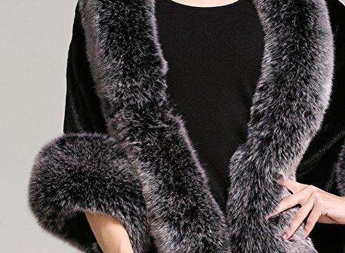BEAUTELICATE Women's Faux Fur Shawl Wrap Stoles for Bridal Wedding Dresses-S64 Black Grey