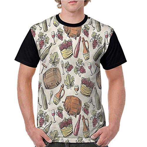 Printed Short Sleeves,Winery,Viticulture Grapevine Barrel S-XXL Baseball T-Shirt Tee Tops ()