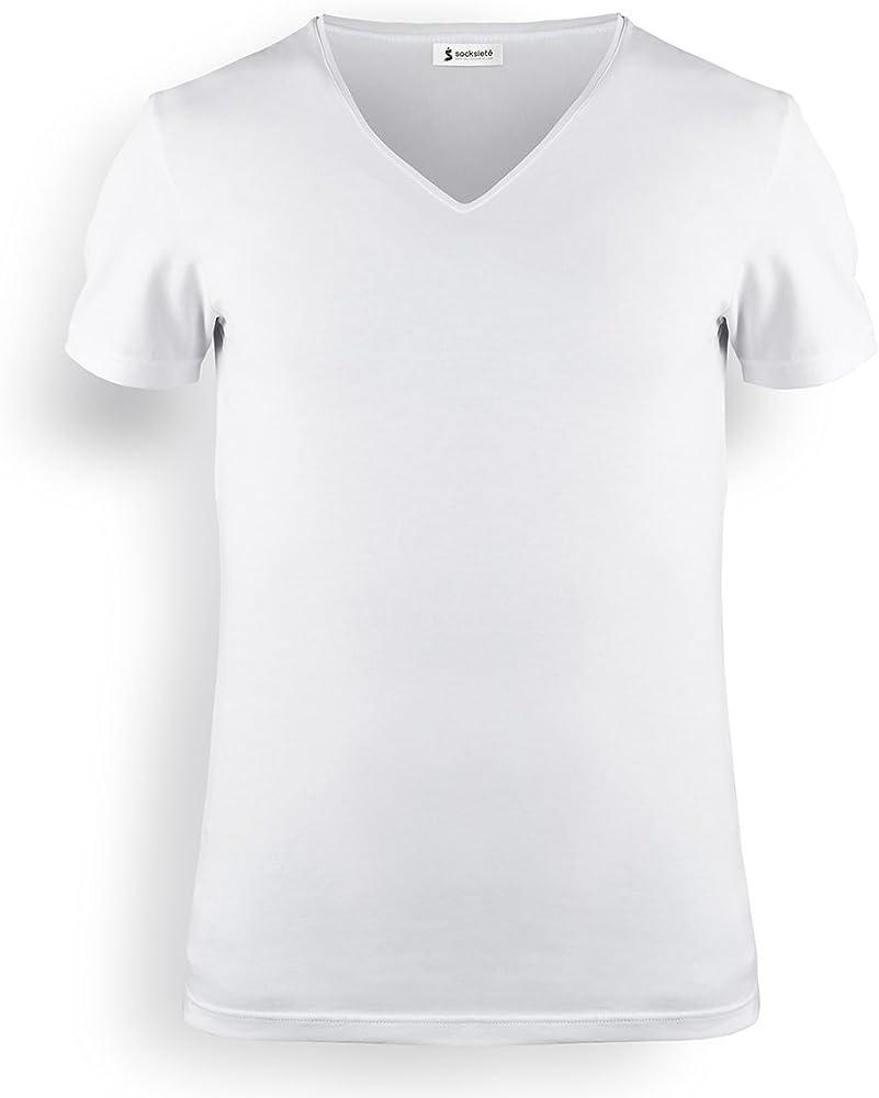 Socksieté Camiseta para hombre Cuello V (V-Neck) (algodón peinado elástico Bianco Small: Amazon.es: Ropa y accesorios