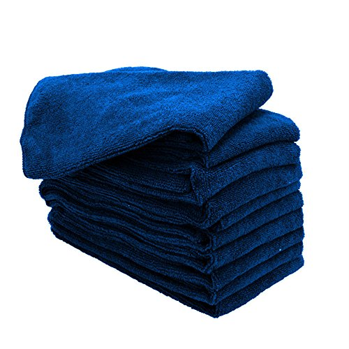 GHP 144-Pcs 16''x16'' Navy Blue Professional Grade 300 GSM Microfiber Cleaning Towels