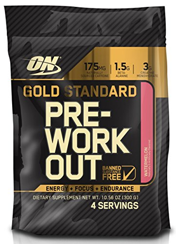 Optimum Nutrition Gold Standard Pre-Workout Travel Size with Creatine, Beta-Alanine, and Caffeine for Energy, Flavor: Watermelon, 4 Servings