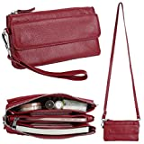 YALUXE Women's Leather Smartphone Wristlet Crossbody Clutch with RFID Blocking Card Slots Red