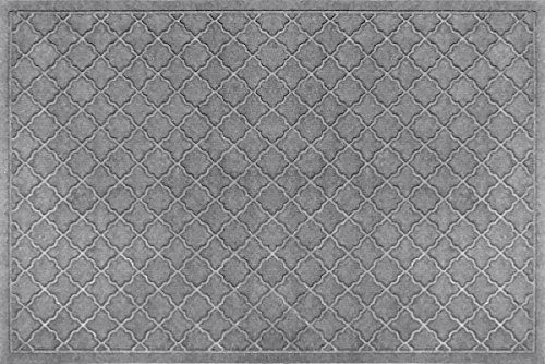 Bungalow Flooring Waterhog Indoor/Outdoor Doormat, 4' x 6', Skid Resistant, Easy to Clean, Catches Water and Debris, Cordova Collection, Medium Grey ()