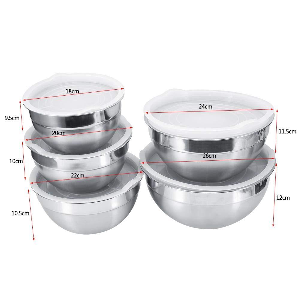 Asixx Ciotola di miscelazione 18cm 5 Formati Ciotola di miscelazione in Acciaio Inox Insalatiera con Coperchio Cottura Cucina Strumenti di Cottura per Mix Servizio di Cottura Cottura