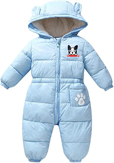 BABY GIRL WINTER SNOWSUIT OUTFIT PRAM SUIT Blue ALL IN ONE ROMPER