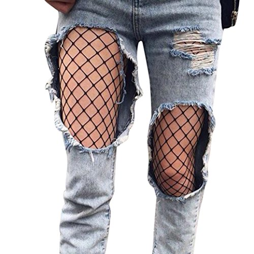 OVERMAL Women Sexy Hosiery Black Fishnet Elastic Thigh High Stockings Pantyhose Tights (B)