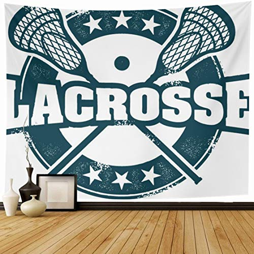 Ahawoso Tapestry Wall Hanging 60x50 Stamp Lax Vintage Lacrosse Sport Distressed Recreation Helmet NCAA Youth College Home Decor Tapestries Decorative Bedroom Living Room - Decor Wall Stamp