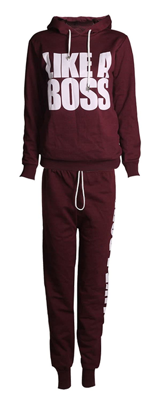 Forever Womens Long Sleeves Like a Boss Print Hoodie Sweatshirt Trousers Tracksuit Made In UK