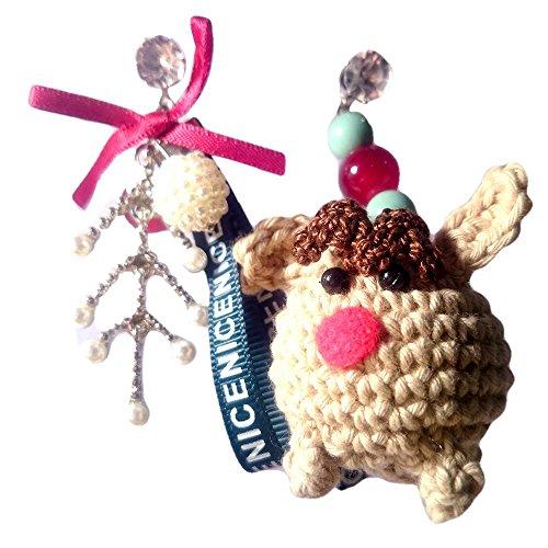 Sansukjai Earring Deer Figurines Amigurumi Crochet Fashion Earring, Handmade Jewelry, Christmas Gift (Tuto Halloween)