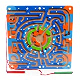 SHENSHOU Magnetic Pen Labyrinth Wooden Early Education Puzzle Maze Rolling Beads Toy Suitable for Children 2-6 Years Old,Ring