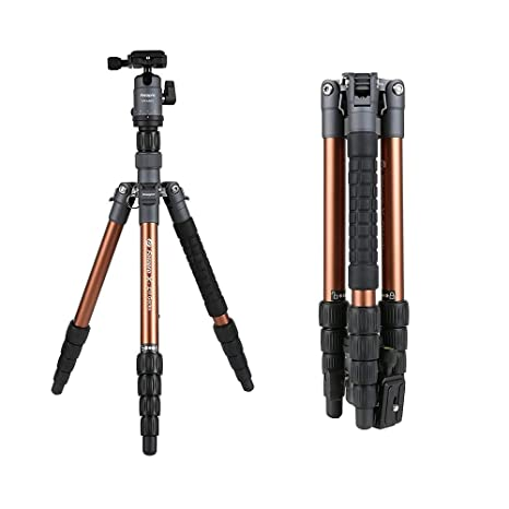 Fotopro X Go Gecko 5ft Aluminium Tripod Stand with Ball Head for DSLR Camera Payload 8 kg  Brown+Gray  Complete Tripod Units